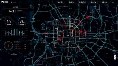 収集した道路情報から渋滞の状況をリアルタイムにモニタリングするシステム「DiDi Smart Transportation Brain」。2018年1月に発表した(出所:Business Wire)