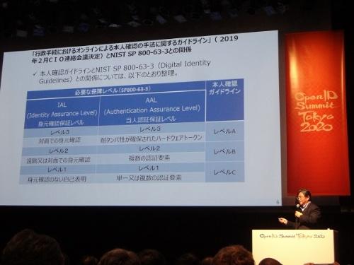 「OpenID Summit Tokyo 2020」で講演する満塩尚史政府CIO補佐官