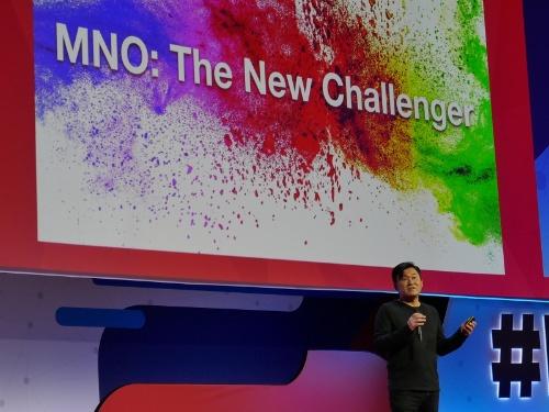 スペイン・バルセロナで開催された「MWC2018」の基調講演に登壇した三木谷浩史会長兼社長