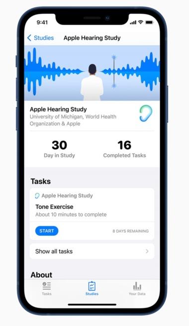 米国で実施中の聴覚に関する研究「Apple Hearing Study」の画面
