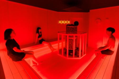 東京・六本木に期間限定で開業した「チームラボ & TikTok, チームラボリコネクト:アートとサウナ 六本木」。サウナエリア、冷水(シャワー)エリア、アート浴エリアを回遊できる施設としている。サウナ室には、中央にあるサウナストーンに水をかけて蒸気を浴びる、本場フィンランド式のロウリュを導入(写真:チームラボ)