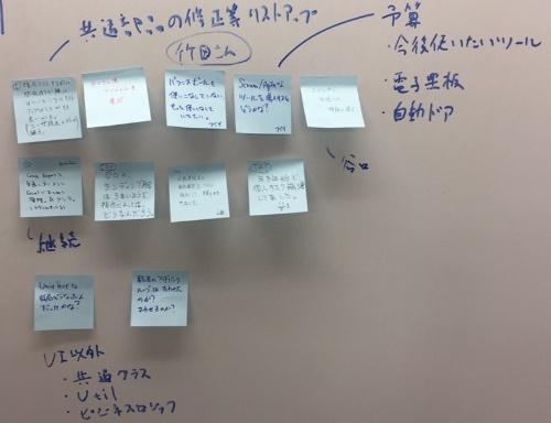 スクラム開発中の様子。付箋で情報を共有