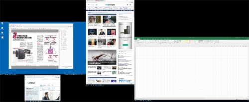 筆者の仕事PCのディスプレイ。外部ディスプレイを3台接続している。黒い部分は非表示領域。