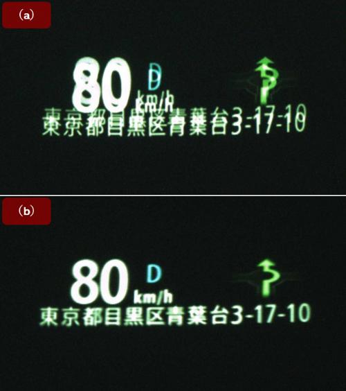 JVCケンウッドが開発した試作HUDの映像例。(a)二重像が大きく出た映像、(b)二重像を軽減した映像。(出所:JVCケンウッド)