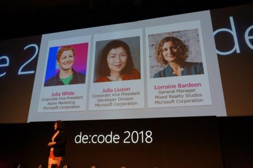 日本マイクロソフトの開発者イベント「de:code 2018」で他の登壇者を紹介する、伊藤かつら執行役員常務。男性の登壇者は、平野拓也代表取締役社長だけだった