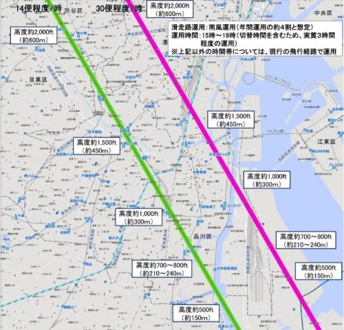 東京都品川区周辺の新飛行ルート。A滑走路に到着するルート(緑線)は1時間に14便ほど、C滑走路ルート(赤線)は同30便ほどが通過する(資料:国土交通省航空局)