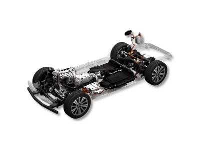 マツダが開発中のFR(前部エンジン・後輪駆動)プラットフォームを使ったプラグインハイブリッド車(出所:マツダ)