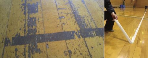 フローリングに貼ったテープをゆっくりと剥がさないと、塗膜や木材の表面を傷め、ささくれができる(写真:フローリング協会)