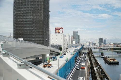 首都高速1号羽田線の更新工事の様子。2019年9月撮影(写真:日経コンストラクション)