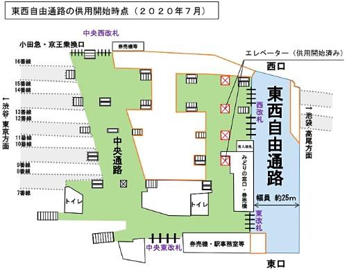 「新宿駅東西自由通路」整備後平面図(供用開始時点)(資料:JR東日本)