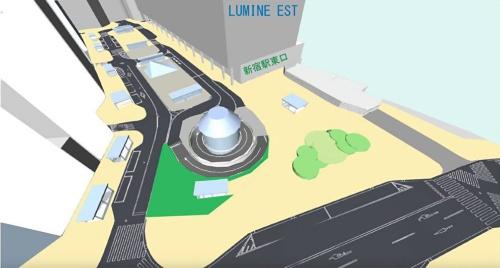新宿駅東口駅前広場の整備イメージ(歩行者空間拡張)。全体完了は21年3月の予定(資料:JR東日本)