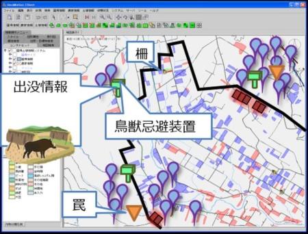 イノシシの出没状況や罠にかかった状況などをマップ上に示す