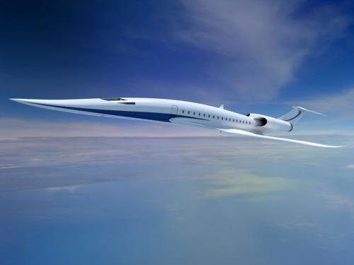 JAXAが2026年ごろの実証実験を目標に開発する超音速機のイメージ。50人乗りで、マッハ1.6、航続距離6500km以上を想定する。(写真:JAXA)