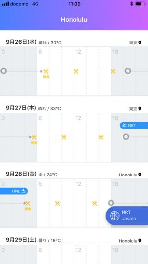 開発中の時差ボケ対策アプリの画面。出発地と到着地の時差を踏まえ、出発3日前から食事(黄色いアイコン)や就寝(灰色のアイコン)のタイミングを調整するよう促す