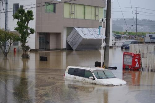 台風19号の影響で福島県郡山市は阿武隈川流域に広がる市街地や工業団地が浸水した(写真:日経 xTECH)