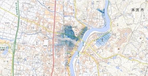 国土地理院が公開した本宮市の浸水推定段彩図。阿武隈川の西側に広がる市街地の浸水深は2~4mと、市が作成したハザードマップとほぼ一致している(資料:国土地理院)