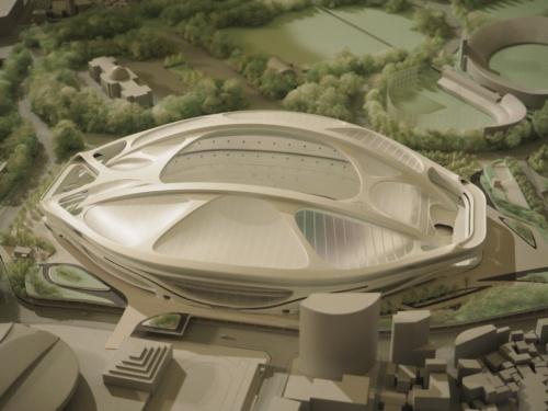競技場の長大スパンを確保するため、ザハ・ハディド氏が採用した橋梁のような「キールアーチ」。日本の技術力を信頼し、有機的な曲線の意匠と構造を融合したデザインだった(写真:日経 xTECH)