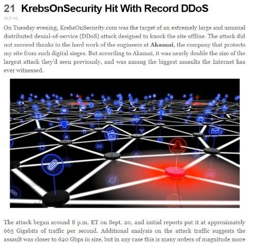 DDoS攻撃を受けたことを伝える「Krebs On Security」の記事