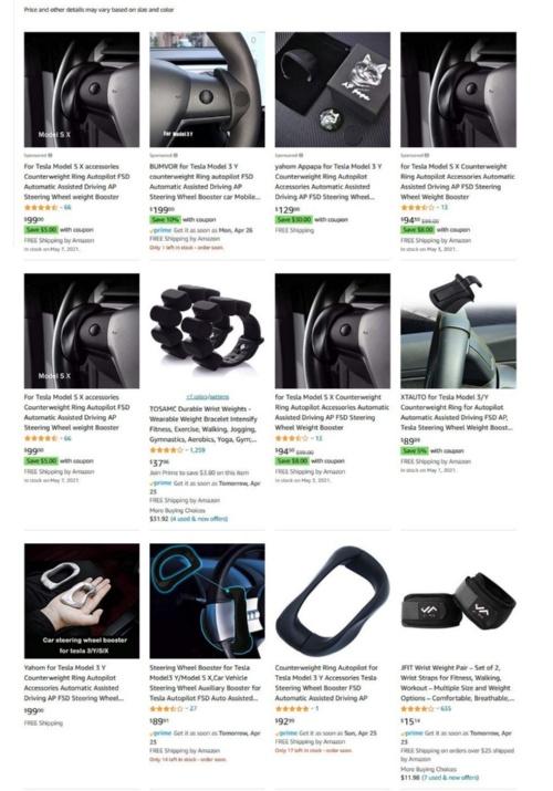 オートパイロットを作動し続けるためにステアリングに取り付ける重り Amazon.comやeBayなどで簡単に購入できる。(出所:Amazon.comのサイトをキャプチャーしたもの)