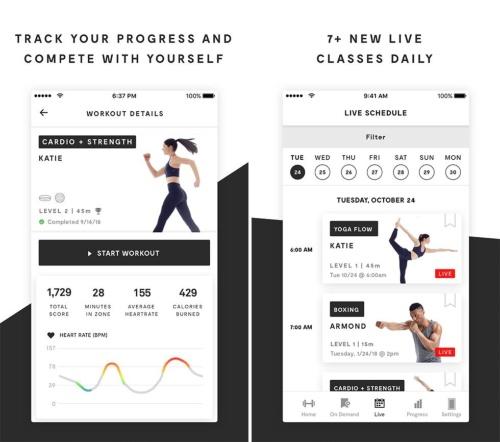 アプリで利用者の目標を管理する(左)。ミラーのインストラクターやクラスも随時追加している(右)(出典:ミラー)