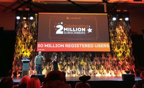 クランチロールの無料会員数は5000万人、有料会員数は200万人に達した。2019年8月30日~9月1日に開催された「Crunchyroll Expo 2019」での発表イベントの様子(撮影:日経 xTECH)
