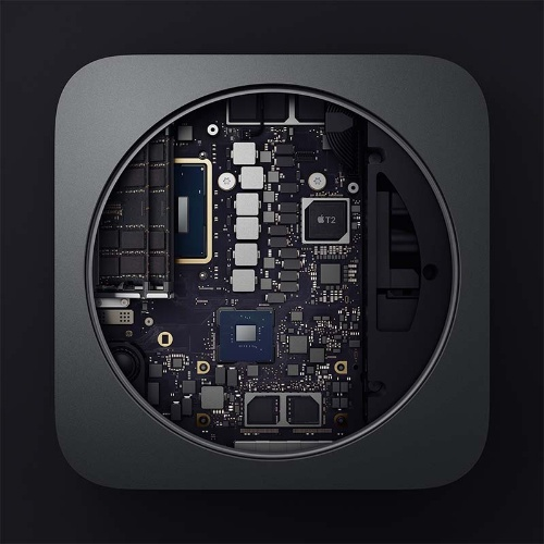 T2 Securityチップ(右上)を搭載したMac miniの内部