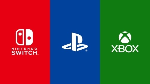 Microsoftと任天堂、SIEそれぞれのゲーム機のロゴ