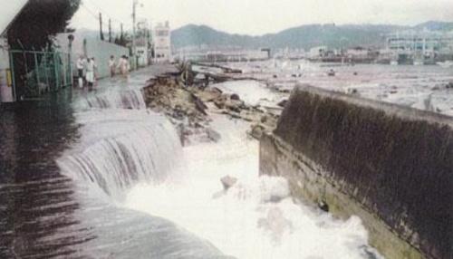 堤外地での高潮被害の例(出所:国土交通省)