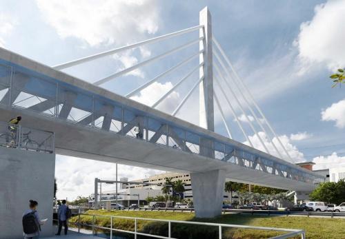 歩道橋の完成予想図。技術提案時の資料では、主塔とケーブルには橋の剛性を高める機能があるとしていたが、米国家運輸安全委員会は「装飾」だと説明している(出所:フロリダ国際大学)