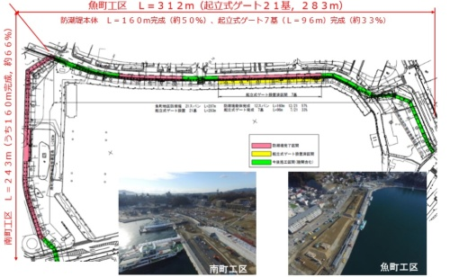 気仙沼市内湾地区(魚町地区と南町地区)の防潮堤の平面図(資料:宮城県)
