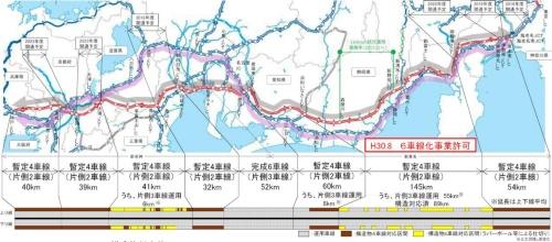 新東名高速道路と新名神高速道路の車線数