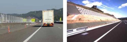 左がラバーポールの設置箇所で、右は6車線化に向けて切り土が必要になる箇所(資料:国土交通省)