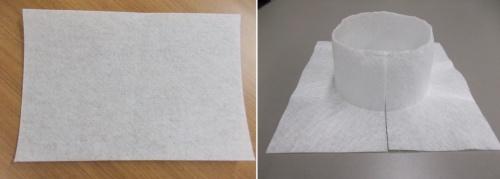 長方形の1枚の不織布(左)を特殊成型して、柱脚部の形状に合わせた形に加工する(右)(写真:小泉製麻)