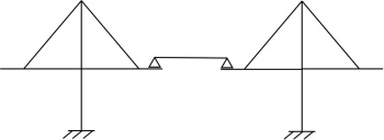 斜張橋部分の構造の模式図。独立した主塔間を単純桁でつないでいる。SOME TYPES OF TIED BRIDGE IN PRSTRESSED CONCRETE by Riccard Morandiを基に本誌が作成