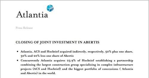 アベルティスの買収手続き完了に関する発表資料の一部(資料:アトランティア)