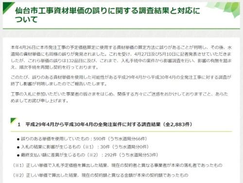 資材単価の誤りに関する調査結果を公表した仙台市のホームページ(資料:仙台市)