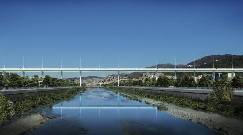 新橋の完成予想図。渡河部は他の箇所よりもスパンが大きい(資料:Renzo Piano Building Workshop)