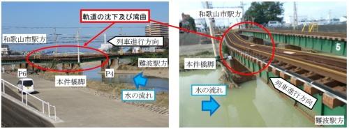 事故現場付近の状況。橋梁上の軌道が沈み込み、左側(上流側)に湾曲したために、電車が脱線した(資料:運輸安全委員会)