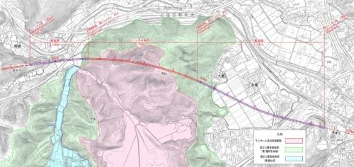 トンネルの位置図(資料:鉄道建設・運輸施設整備支援機構)