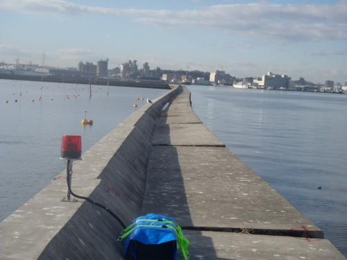 2018年末の発覚以来、外洋側(写真左手)に傾き続けている宮城県塩釜漁港の東防波堤。19年1月4日撮影(写真:宮城県)