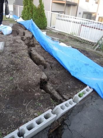 東月寒サニータウン内で見つかった長さ20mの地割れ(写真:日経ホームビルダー)