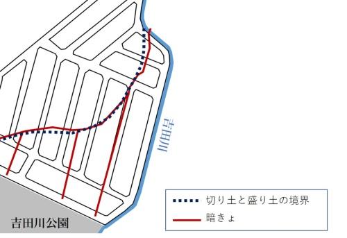 切り土と盛り土の境界と暗きょの位置。札幌市の資料を基に日経コンストラクションが作成