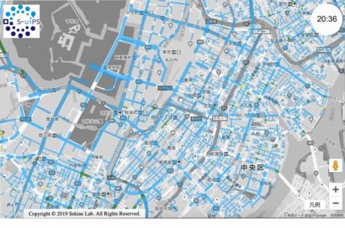 豪雨時の東京駅周辺での浸水状況を示した地図。右上に表示されている時間を変えたり、見たい箇所を拡大したりするといった操作が自由にできる(資料:早稲田大学)