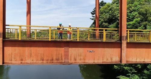 ドローンを使ったテスト飛行で市内の「岩の上橋」を点検する君津市の職員。点検結果の診断も担う。実証実験ではDアカデミーが機体の提供や職員への操作方法の指導、アイネットが撮影データの保管や分析を担当する(写真:君津市)