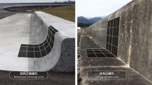 2016年時点の開発中の縁石(左)と従来の縁石(右)の形状比較(写真:ブリヂストン)