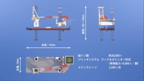 自航式SEP船の大きさ。4本の脚を海底に着床させて船体を持ち上げる(資料:清水建設)