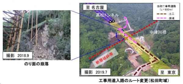 神奈川県松田町に建設する中津川橋と高松トンネルの工事用進入路を整備する際、2018年9月に法面の崩落が発生した(資料:中日本高速道路会社)