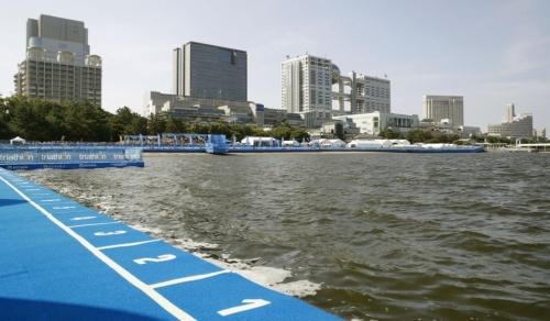 水質悪化でスイムが中止になったパラトライアスロンW杯のコース=2019年8月17日、東京・お台場海浜公園(写真:共同通信社)