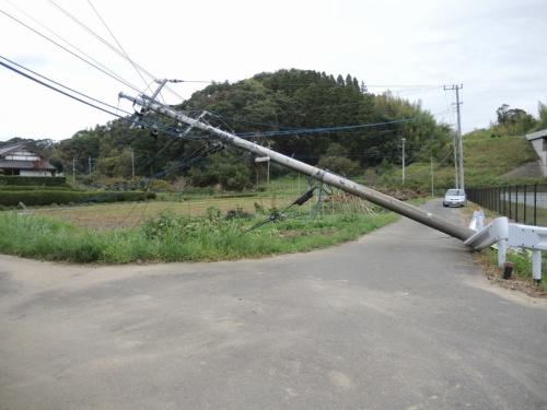 台風15号で倒れた千葉県茂原市の電柱。2019年10月15日撮影(写真:日経xTECH)