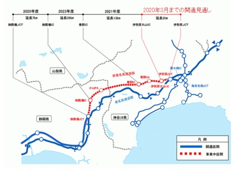 開通時期の見通し(資料:中日本高速道路会社)
